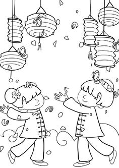 tet coloring pages for kids | TEMPLATE for chinese new year printable dragon puppet http ...