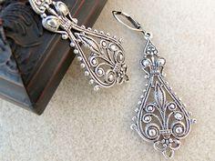 sterling silver spoon jewelry earring   Silver Spoon Filigree Earrings : Antique Lace, Jewelry by ...