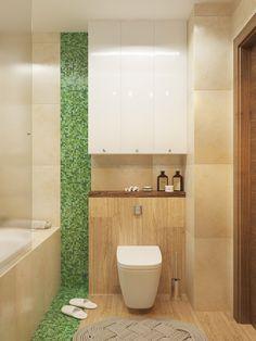 интерьер ванной в коричнево-зеленом цвете