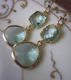 Prasiolite Earrings Light Green Earrings