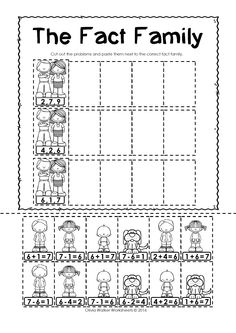 Fact Families - FREE Worksheets! Cut and Paste to Match