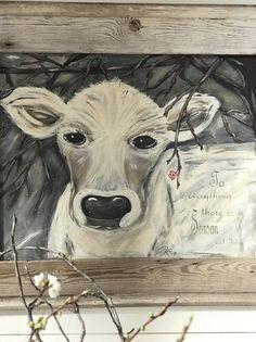 """Faith"" Original Painting Print Cow Painting, Painting Prints, Art Prints, Diy Plate Rack, Vintage Bedroom Decor, Original Paintings, Original Art, Flocked Trees, Christmas In July"