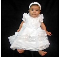 NEW Will'beth White Pintucked Baby Dress with White Embroidered Organdy