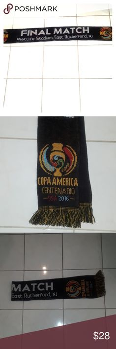 Copa America centenario USA 2016 Scarf Copa America centenario USA 2016 scarf. Scarf is in gently used condition but in great shape no rips or stains, great scarf for a soccer fan. Scarf says in the middle of the scarf final match MetLife Stadium, East Rutherford New Jersey. Scarf is 100% acrylic. Scarf measures 57 in in length. Smoke-free home, look at photos before purchasing as all sales are final, happy Poshing. Accessories Scarves