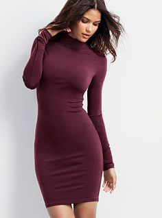 Jersey turtleneck dress in the perfect Fall color.