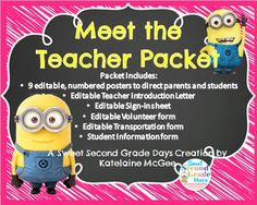 Meet the Teacher Forms and Posters MINIONS!