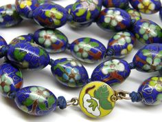 """Vintage Chinese Export Large Oval Blue Pastel Flowers Hand Knotted Cloisonne Bead Necklace 25"""""""