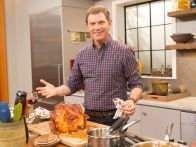 Brined Pork Loin with Molasses-Mustard Glaze, Sour Mash Sauce and Apple Butter Recipe : Bobby Flay : Food Network