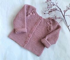 Hand knitted vintage rose pink baby sweater, pure merino wool girl's cardigan - to 4 months, modern baby shower gift, handmade girl cardigan