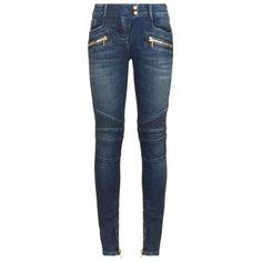 Balmain Classic Biker Jeans (20,285 MXN) ❤ liked on Polyvore featuring jeans, pants, bottoms, skinny jeans, balmain, leather skinny jeans, leather jeans and skinny leg jeans