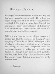 Broken hearts Lang Leav quote