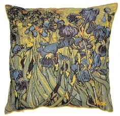 This Museum Collection gobelin cushion cover shows part of the famous painting Irises by Vincent Van Gogh (30 March 1853 – 29 July 1890) a major Post-Impressionist painter. He was a Dutch artist whose work had a far-reaching influence on 20th-century art. His output includes portraits, self portraits, landscapes and still lifes of cypresses, wheat fields and sunflowers. Van Gogh drew as a child but did not paint until his late twenties; he completed many of his best-known works during the…