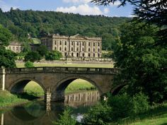 Chatsworth House in Derbyshire.  House Open 11am-5pm. Garden Open 11am-5:30pm. House + Garden $28.90 per person. Cottages & Hotels Offered. 30 Minute Drive from Chesterfield Train. Bakewell, Derbyshire.