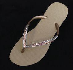1028b15e7 Gold Havaianas Slim Flip Flops Sand Gray Golden Beige Tan Silk Shimmer  Custom w  Swarovski Rhinestones Iridescent Beach Wedding Bridal Shoes