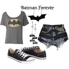 Batman inspired outfit. I'd add some tights or fishnets to this. :)