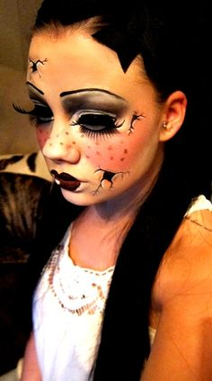 Cracked porcelain doll makeup. Love for Halloween.