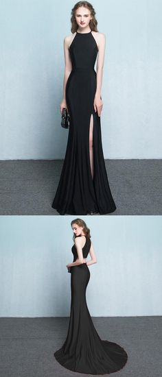 Black Prom Dress,Mermaid Prom Dress,Halter Prom Dress,Long Prom Dress
