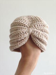 crochet baby turban hat virkad baby turban