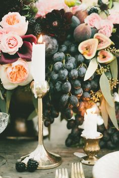 Fig and gold centerpiece and candles  | Onelove Photography | see more on:  http://burnettsboards.com/2014/03/fig-gold-wedding-coolest-bar/