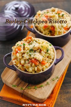 Slow Cooker Barley & Chickpea Risotto ~ via http://blog.naturebox.com/posts/slow-cooker-barley-chickpea-risotto