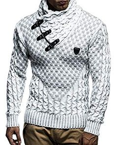 factory authentic c39c6 8b481 Men s Clothing, Sweaters, Pullovers, Men s Pullover With Faux Leather  Accents - Ecru Grey -