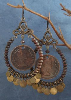 Want to make a pair with coins I have... Coin & Bead Hoop Dangly Brass Filigree Earrings