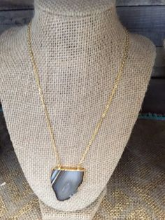 24k gold plated Brown Agate Necklace.  Only $24.  Located at Vinterest