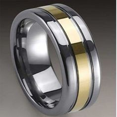 Gold Plated Polish Groove Inlay Tungsten Carbide Ring Wedding Band R320