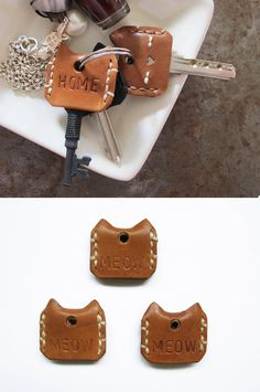 Meow! Key Cover in Vegetable Tanned Leather- Set of 3, Set of 6, Hand Stitched, Handcrafted, Personalized by SubconsciousCrafts on Etsy https://www.etsy.com/listing/209100665/meow-key-cover-in-vegetable-tanned