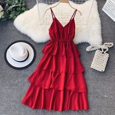 Lucuna Spaghetti Strap A-Line Midi Tiered Dress USD Dresses & Skirts. Buy women Dress is now available in the color Black. Cute Casual Outfits, Pretty Outfits, Pretty Dresses, Beautiful Dresses, Summer Outfits, Summer Dresses, Simple Dresses, Elegant Dresses, Casual Dresses