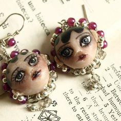 art doll miniature cameo earrings  Love n Lust  by by KarolinFelix, €105.00