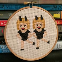 emilyekey: This tiny cross stitch emoji I spent way too many hours of my life on? It's dumb yet artsy…I can even make your favorite. Or more realistically, how about a porcelain French bulldog? Much art.