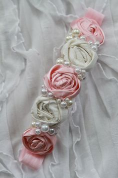 pink & ivory rosette headband by londonraquel on Etsy, LOVE THIS!