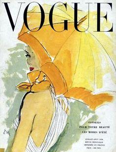 Vogue Paris Jul/Aug. 1950, cover illustrated by Eric (Carl Erickson)