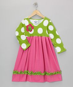 Take a look at this Green & Pink Babydoll Dress - Infant, Toddler & Girls by Corky's Kids on #zulily today!