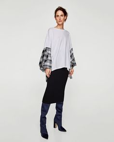 c03681721 Image 1 of CONTRAST TOP WITH FULL SLEEVES from Zara Full Sleeves, Bell  Sleeve Top