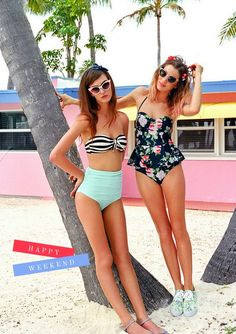 high waisted swim and cat eye sunglasses