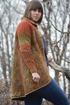Rowan - Eco style and boho chic fashion felted jacket from natural silk and A-Grade wool, lace and hand embroidery,OOAK, ready to ship
