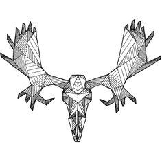 Detailed Geometric Moose Skull Drawing - (Digital Art Print from Original Skeleton Illustration) (€13) found on Polyvore