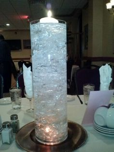 Cellophane paper and water create a beautiful centerpiece