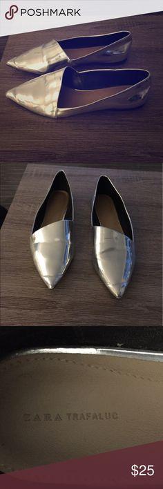 Silver Zara pointy toe flats size 40/9 Fun and retro-I spired Zara flats. Zara Shoes Flats & Loafers