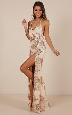 Complete your look with the Out Till Dawn Dress In Rose Gold Sequin from Showpo! Elegant Dresses, Sexy Dresses, Evening Dresses, Fashion Dresses, Prom Dresses, Wedding Dresses, Gold Formal Dress, Formal Gowns, Pool Party Dresses