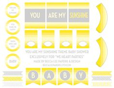 We Heart Parties: Free Printables You Are My Sunshine