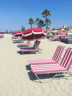 Candy Cane Beach Chairs at Hotel del Coronado