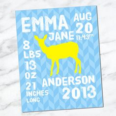 Printable Download Birth Stats Wall Art 8x10 - Baby Stats - Name Date Weight Length Time - Birth Info - CM3105 deer blue yellow - Birth announcement