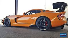 Woodhouse Motorsports tuned the MCS/Eibach race suspension, on JD Hertweck's Y'orange Dodge Viper ACR Extreme, and installed Arrow Racing heads & cam, Belanger headers, Corsa exhaust, TeamTech harnesses, WMD IPSCO front tow hook, & Michelin slicks on Forgeline 1pc forged monoblock GTD1-Viper wheels finished in Gloss Black. See more: http://www.forgeline.com/customer_gallery_view.php?cvk=1683 #Forgeline #forged #monoblock #GTD1Viper #6Lug #notjustanotherprettywheel #madeinUSA #Dodge #Viper