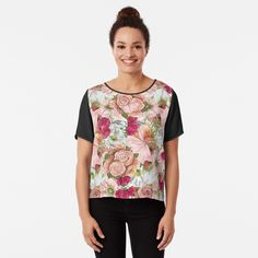Bizarre Art, Green Watercolor, Looks Cool, Vintage Floral, Pink And Green, Chiffon Tops, How To Draw Hands, Classic T Shirts, Just For You