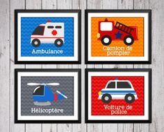 Décoration chambre enfant, décor chambre bébé, décoration camion de pompier, ambulance, voiture de police, hélicoptère, décor chambre garçon