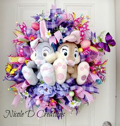 Easter Wreath -Deco Mesh Wreath- Front Door Wreaths- Spring Wreath- Thumper Wreath- Disney Wreath This gorgeous Easter Wreath is sure to brighten up your entry door or wall this spring! What a great way to kick of the Easter season and welcome your guests Deco Mesh Crafts, Wreath Crafts, Wreath Ideas, Spring Crafts, Holiday Crafts, Holiday Decor, Disney Wreath, Spring Front Door Wreaths, Spring Wreaths