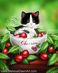 Cherry Kitten by Melissa Dawn Art | Cat Art | Pinteres